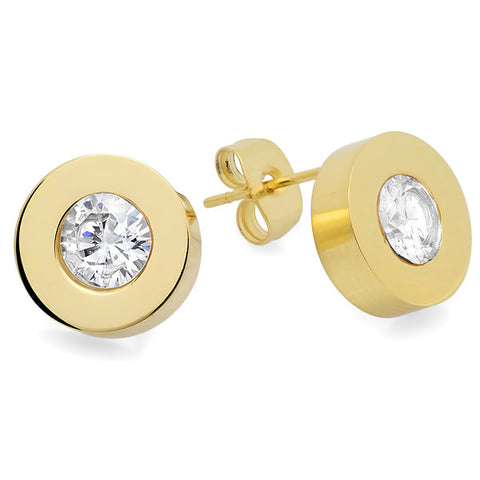 Ladies 18 KT Gold Plated Round Center Stud Earrings