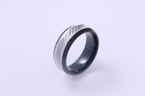 Men's Black IP Ring w/Stainless Steel Lay & Leaf Design