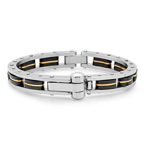 stainless Steel Bracelet with Black IP and 18k Gold Plated