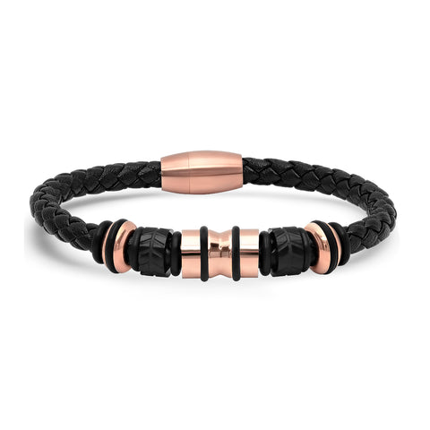 Braided Leather Bracelet w steel accents