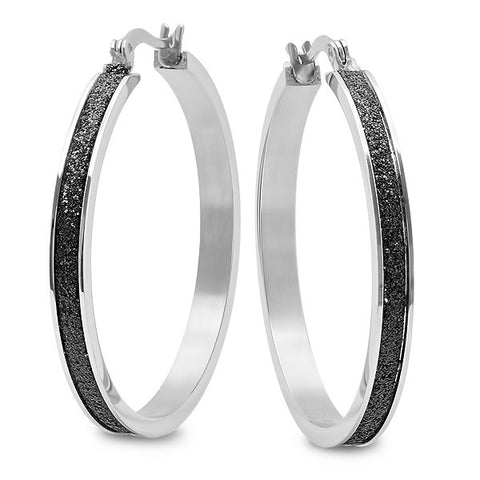 LADIES Black Glitter STAINLESS STEEL 50MM HOOP Earrings