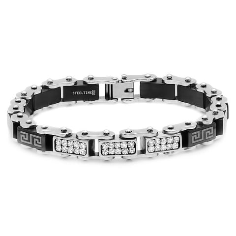 Men's Steel and Black IP Bicycle Link Bracelet
