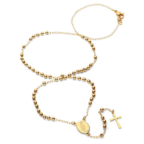 18K Gold Plated Rosary Beaded Necklace