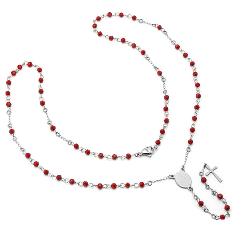 Stainless Steel Red Rosary Necklace