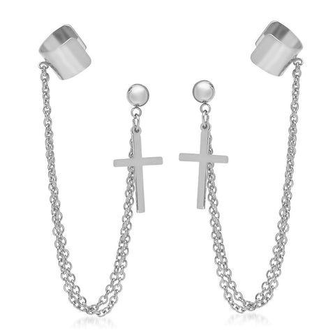Steeltime Stainless Steel Earrings With Cross Design