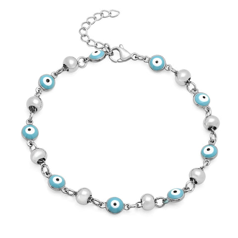 STAINLESS STEEL BLUE ENAMEL EVIL EYE BEADED BRACELET