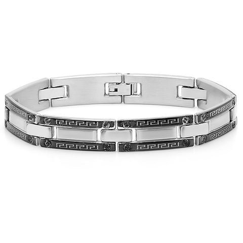 Men's Stainless Steel Bracelet With Greek Key Accent
