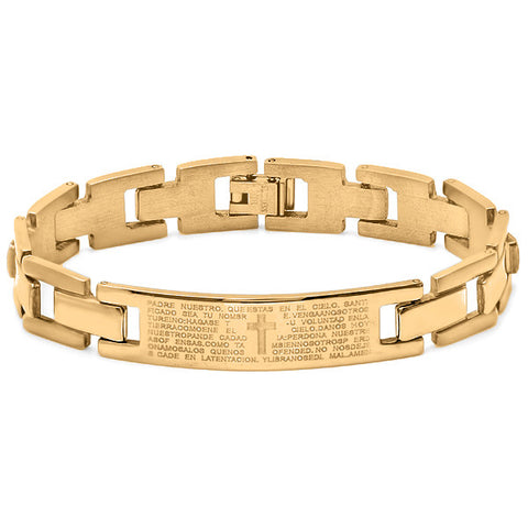 "Men's 18kt Gold Plated Stainless Steel ""Padre Nuestro"" Bracelet"
