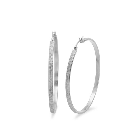 Stainless Steel Hoop Earrings with Lines
