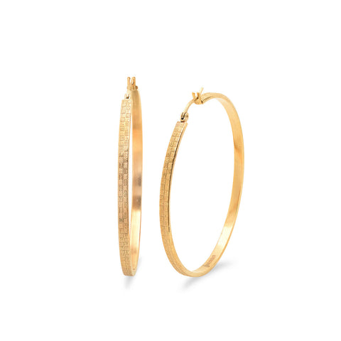 18 KT Gold Plated Hoop Earrings with Lines 60mm