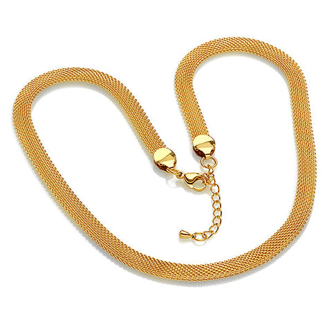 "18 KT Gold Plated Mesh 18"" Necklace"
