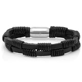 Men's Black Leather String Design Bracelet