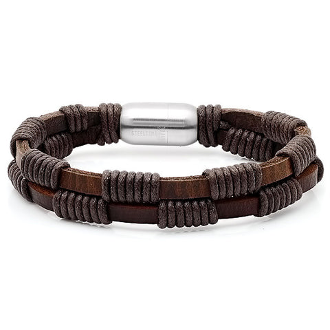 Men's Leather Bracelet with Stainless Steel Clasp in Brown