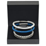 Box Set of 3 White Leather, Blue Leather, and Silvertoned Bracelets