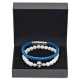 Genuine Blue Leather and White Marble Beaded Bracelet Box Set