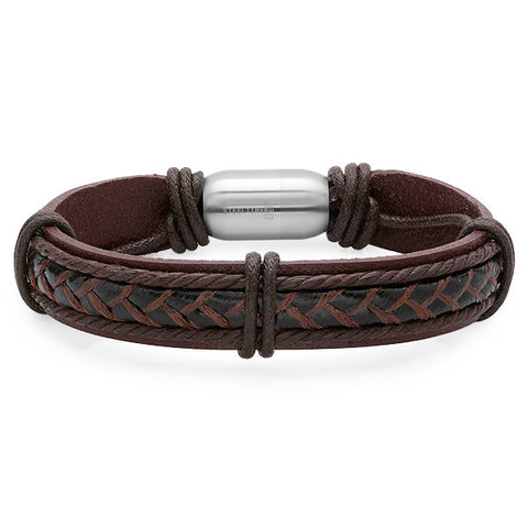 Men's Brown Genuine Leather Bracelet With Stainless Steel Clasp