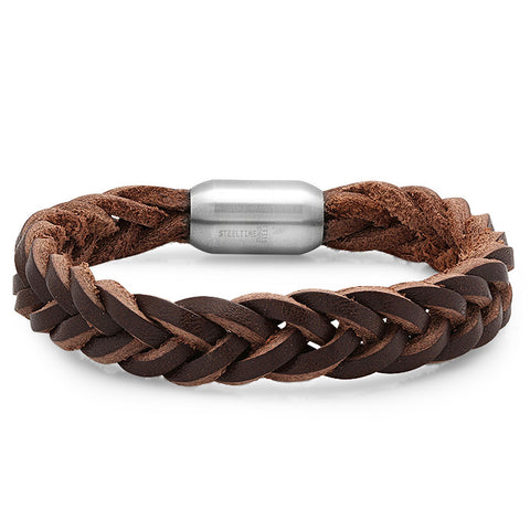Genuine Braided Leather Bracelet In Brown