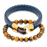 Tiger Eye Beaded and Blue/Brown Leather Bracelet Box Set