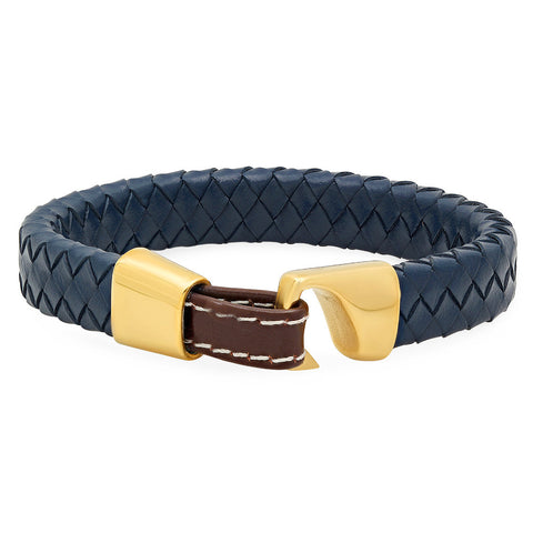 18K GOLD PLATED GENUINE BLUE LEATHER BRACELET