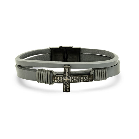 Our father cross leather bracelet