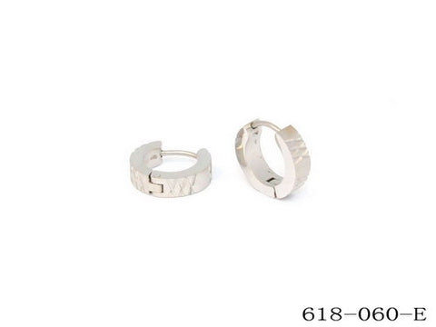 Ladies Stainless Steel Huggie Earrings w/X Accent