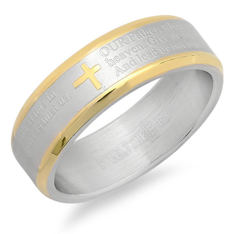 Men's two tone stainless steel Our Father prayer ring