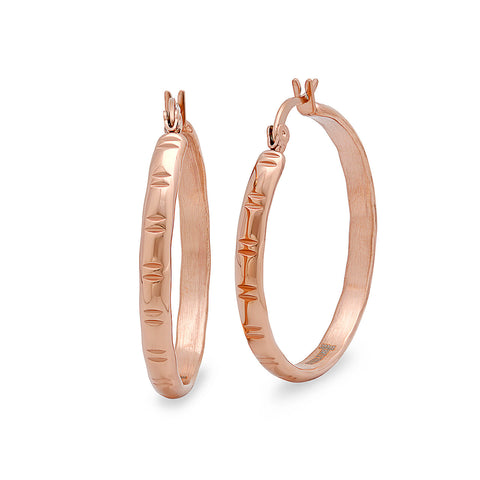 Stainless Steel Women's Rose Gold Hoop Earrings