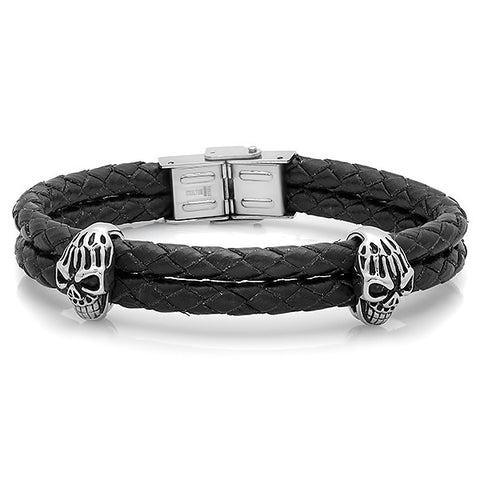 Men's Black Genuine Leather Bracelet With Stainless Steel Skulls and Clasp