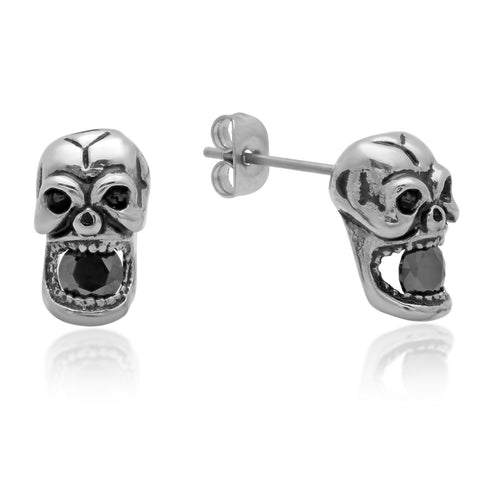 Ladies Stainless Steel Skull Earrings