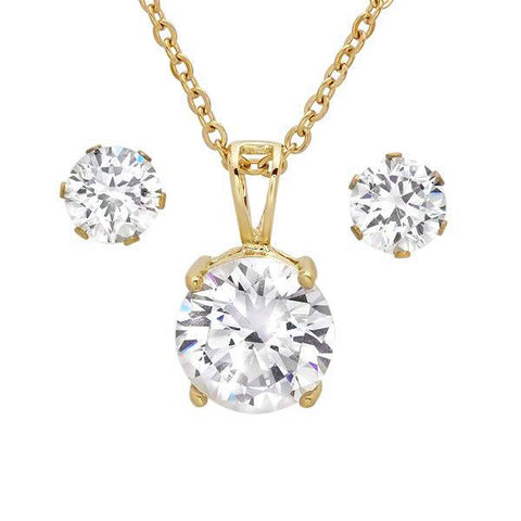 Ladies 18 KT Gold Plated Earring/Pendant Set with Simulated Diamond