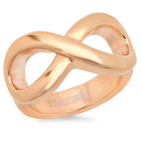 Ladies 18 KT Rose Gold Plated Infinity Ring