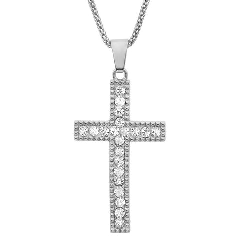 Stainless Steel Cross Pendant with Simulated Diamond Accents