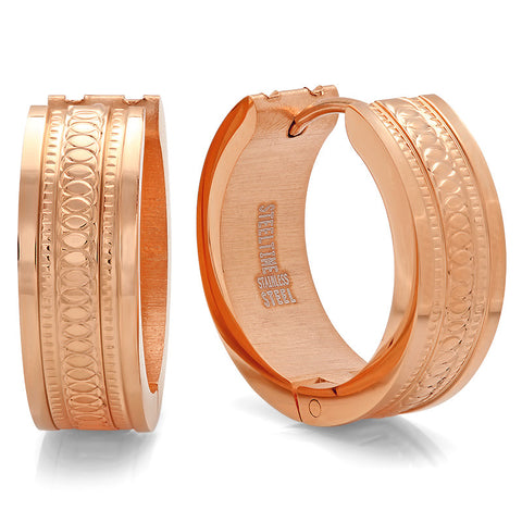Ladies 18 KT Rose Gold Plated Huggie Earrings with Criss Cross Design