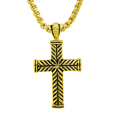 Steeltime 18 KT Gold Necklace with Cross Pendant