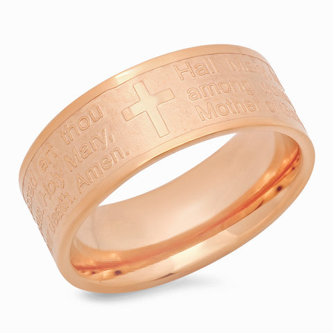 "18kt Rose Gold Plated Stainless Steel Prayer ""Hail Mary"" Ring"