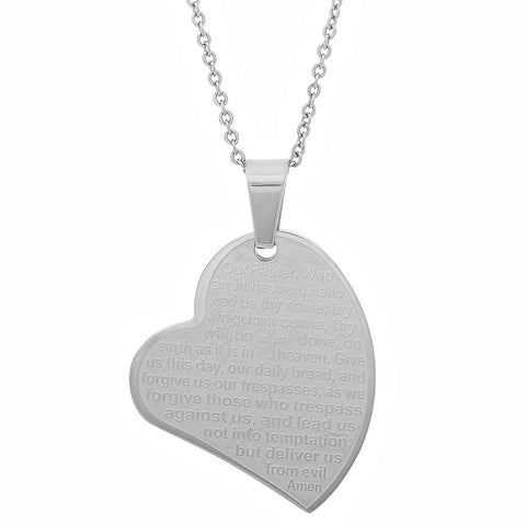 "Ladies Stainless Steel Prayer ""Our Father"" Heart Pendant"