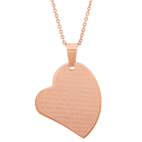 "Ladies 18kt Rose Gold Plated Stainless Steel Prayer ""Our Father"" Heart Pendant"
