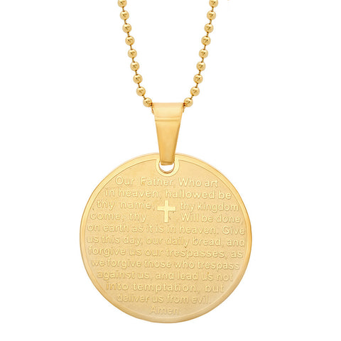 "18kt Gold Plated Stainless Steel Prayer "" Our Father"" Circle Pendant"