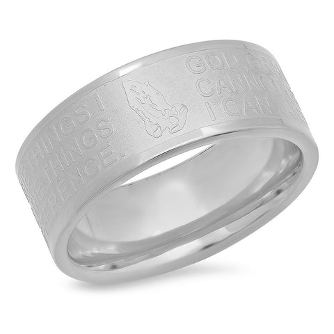 "Stainless Steel Prayer ""God Grant"" Ring"