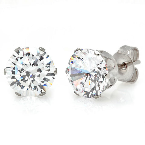 Stainless Steel 8mm Simulated Diamond Stud Earrings