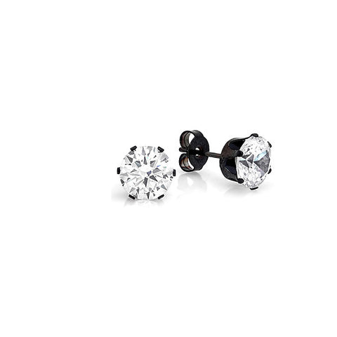 Stainless Steel Round Stud Earrings with Black Setting