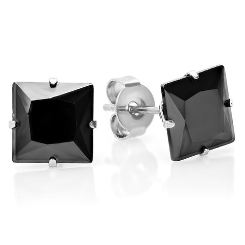 Unisex Large Square Black Simulated Diamond Stud Earring With Stainless Steel Setting