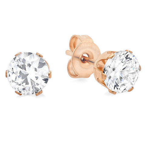 18 KT Rose Gold Plated Stud Earrings w/ Simulated Diamond 8mm