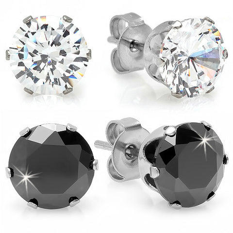 Two Pairs of Stainless Steel Stud Earrings with Simulated Diamonds