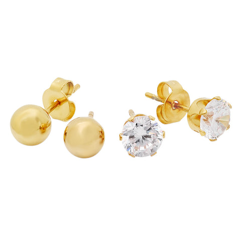 Ladies 18kt Gold Plated Stainless Steel CZ Earrings