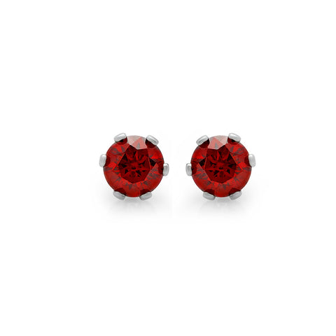 Ladies Stainless Steel With Red CZ Stud Earrings