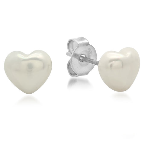 Stainless Steel With Simulated Heart Shape Pearl Stud Earrings
