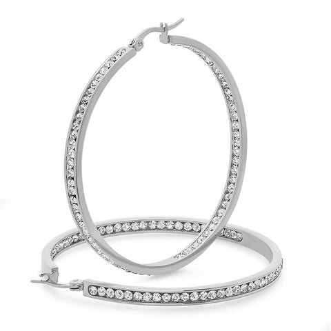Ladies Stainless Steel Hoop Earrings 50mm
