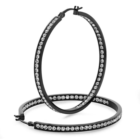 Ladies Black IP Stainless Steel Hoop 50mm Earrings