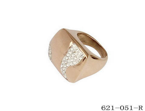Ladies 18KT Rose Gold Plated Cocktail Ring w/Simulated Diamonds